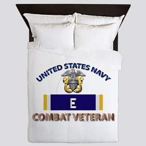 Navy E Ribbon - Cbt Vet Queen Duvet
