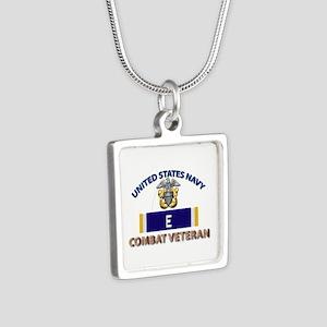 Navy E Ribbon - Cbt Vet Silver Square Necklaces