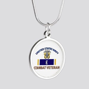 Navy E Ribbon - Cbt Vet Silver Round Necklaces