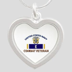 Navy E Ribbon - Cbt Vet Silver Heart Necklaces
