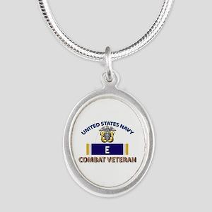 Navy E Ribbon - Cbt Vet Silver Oval Necklaces