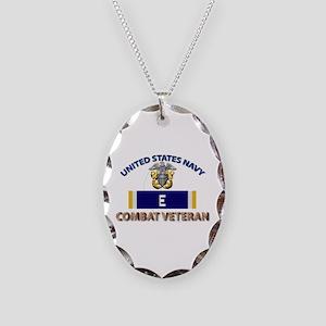 Navy E Ribbon - Cbt Vet Necklace Oval Charm