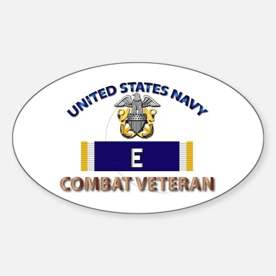 Navy E Ribbon - Cbt Vet Sticker (oval)