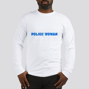 Police Woman Blue Bold Design Long Sleeve T-Shirt