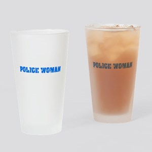 Police Woman Blue Bold Design Drinking Glass