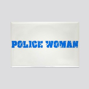 Police Woman Blue Bold Design Magnets