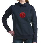 Bullseye_Red Women's Hooded Sweatshirt