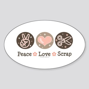 Peace Love Scrapbook Oval Sticker