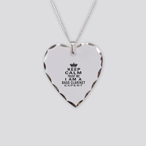 I Am Bass Clarinet Expert Necklace Heart Charm