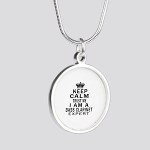 I Am Bass Clarinet Expert Silver Round Necklace