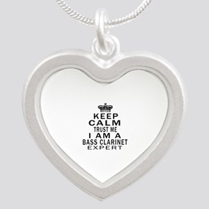 I Am Bass Clarinet Expert Silver Heart Necklace