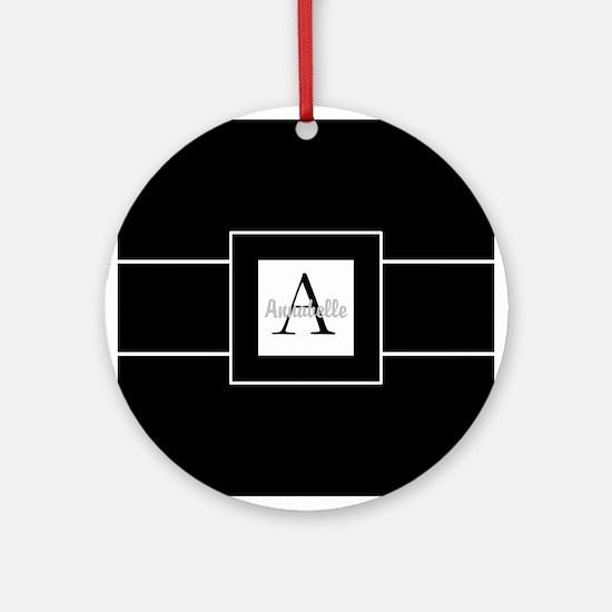 Black White Monogram Personalized Round Ornament