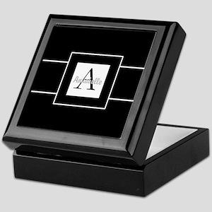 Black White Monogram Personalized Keepsake Box