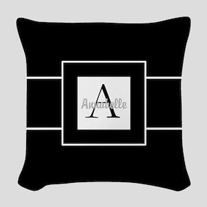 Black White Monogram Personalized Woven Throw Pill