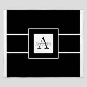 Black White Monogram Personalized King Duvet