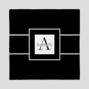 Black White Monogram Personalized Queen Duvet