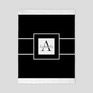 Black White Monogram Personalized Twin Duvet