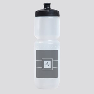 Black White Monogram Personalized Sports Bottle