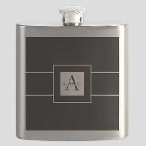 Black White Monogram Personalized Flask