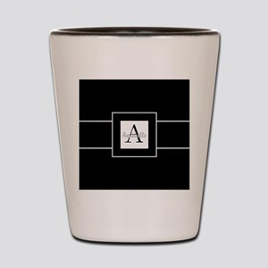 Black White Monogram Personalized Shot Glass