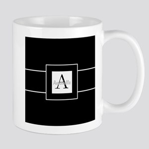 Black White Monogram Personalized Mugs