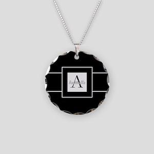 Black White Monogram Personalized Necklace