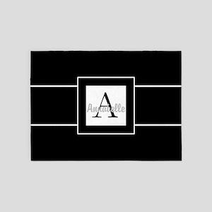 Black White Monogram Personalized 5'x7'are