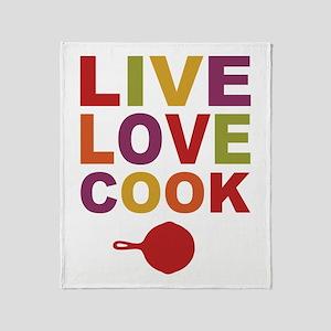 Live Love Cook Throw Blanket