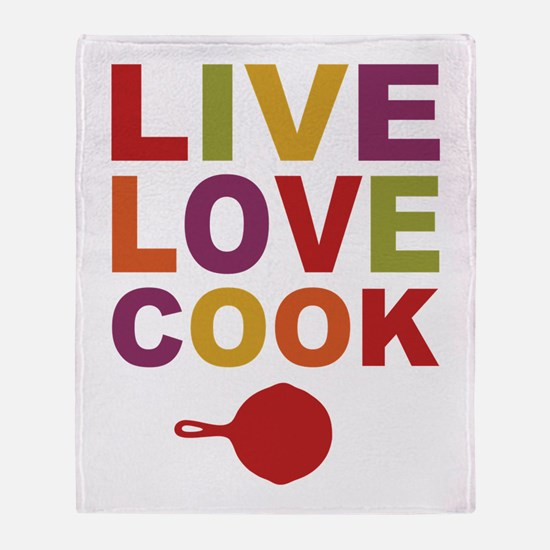 Live Love Cook Throw Blanket