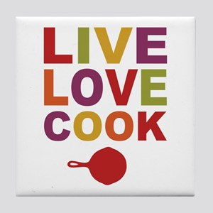 Live Love Cook Tile Coaster