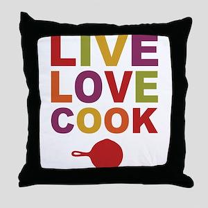 Live Love Cook Throw Pillow