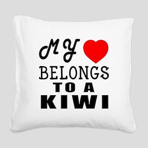 I Love Kiwi Square Canvas Pillow