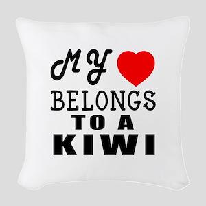 I Love Kiwi Woven Throw Pillow