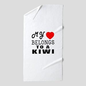 I Love Kiwi Beach Towel