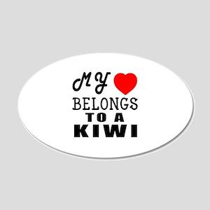 I Love Kiwi 20x12 Oval Wall Decal