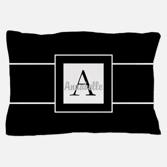 Black White Monogram Personalized Pillow Case