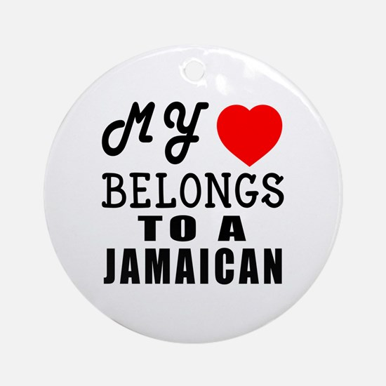 I Love Jamaican Round Ornament