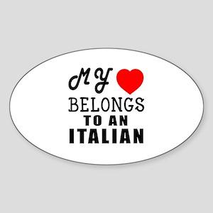 I Love Italian Sticker (Oval)