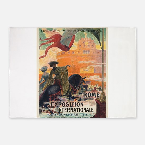 Vintage poster - Rome 5'x7'Area Rug