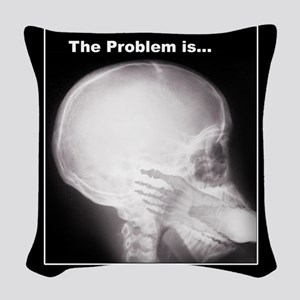 foot in mouth xray Woven Throw Pillow