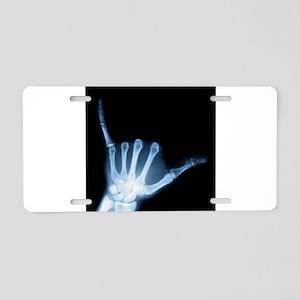 Shaka Hand Sign X-ray ALOHA Aluminum License Plate