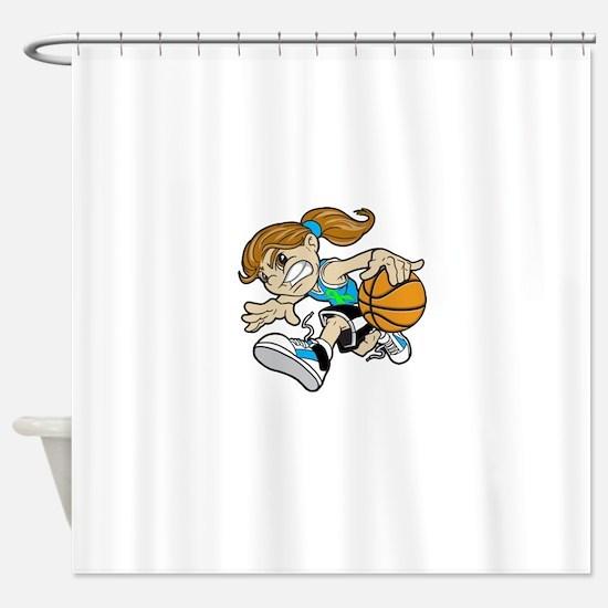 BASKET GIRL CYAN GREEN RIBBON Shower Curtain