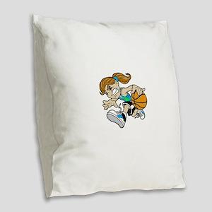 BASKET GIRL CYAN GREEN RIBBON Burlap Throw Pillow
