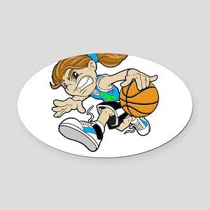 BASKET GIRL CYAN GREEN RIBBON Oval Car Magnet