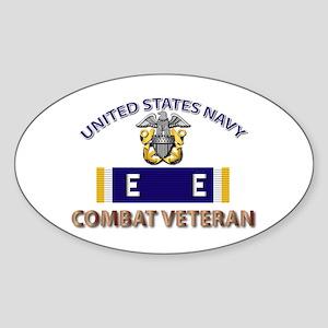 Navy E Ribbon - Cbt Vet - E2 Sticker (Oval)