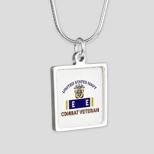 Navy E Ribbon - Cbt Vet - Silver Square Necklace
