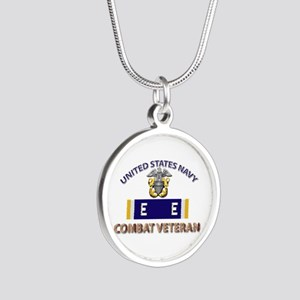 Navy E Ribbon - Cbt Vet - E2 Silver Round Necklace