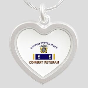 Navy E Ribbon - Cbt Vet - E2 Silver Heart Necklace