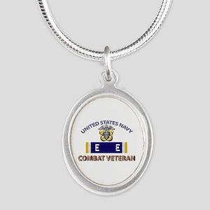 Navy E Ribbon - Cbt Vet - E2 Silver Oval Necklace
