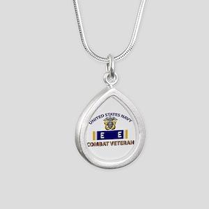 Navy E Ribbon - Cbt Vet Silver Teardrop Necklace